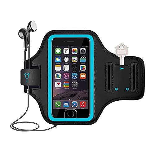 Brazalete para teléfono móvil con correa para bicicleta, tela azul compatible con iPhone 6plus 7plus 8plus 5.5 pulgadas