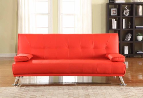 Comfy Living Large Stunning Italian Designer Faux Leather 3 Seater Sofa Bed Futon in RED