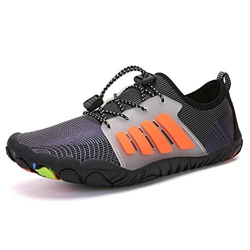 Y-PLAND Zapatos al aire libre río aguas arriba, zapatos de vadeo de cinco dedos, zapatos de natación de buceo en la playa, zapatos deportivos de escalada, zapatos de fitness de escalada, naranja_Eu43
