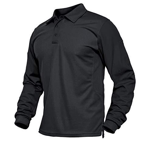 BIYLACLESEN Golf Polo Shirt Men Outdoor Shirt Men Hiking T Shirt Army Tee Military T-Shirt Camping Shirts Pique Polo Shirts for Men Black