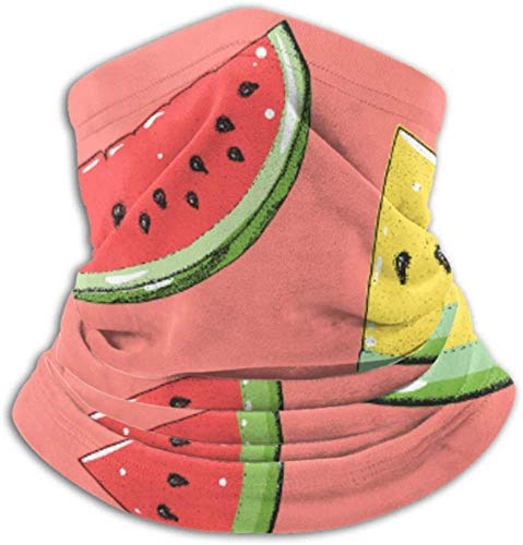 Teemoo Fleece-Nackenwärmer, Multifunktions-Wassermelonen-Schal mit Wassermelonenmuster, Vollmaske oder Mütze, Nackenschutz, Nackenkappe, Skimaske, Halbmaske, Gesichtsmaske
