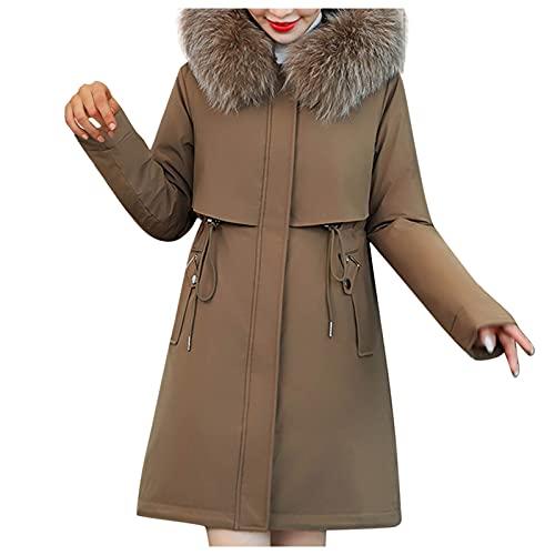 URIBAKY - Abrigo de invierno cálido para mujer, de algodón acolchado, con capucha, con capucha, abrigo casual, marrón, XXL