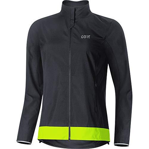 Gore Wear Damen Winddichte Fahrradjacke, C3 Women GORE WINDSTOPPER Classic Jacket, 36, Schwarz/Neon-Gelb, 100276