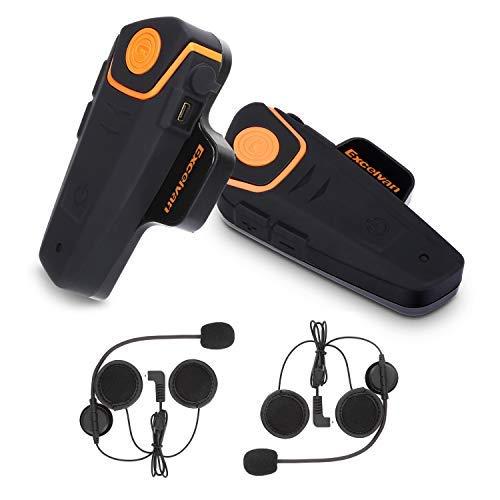 Excelvan 2X Moto Intercom BT-S2 Oreillette Bluetooth Interphone Motorésistant à l'eau pour 2 ou 3 Coureurs et Audio 2,5 mm pour Lecteur MP3 Walkie Talkie GPS Radio FM Mains Libres (Double)