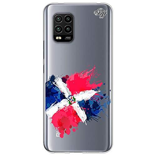 BJJ SHOP Funda Slim Transparente para [ Xiaomi Mi 10 Lite 5G ], Carcasa de Silicona Flexible TPU, diseño : Bandera Republica Dominicana, Pintura de brocha