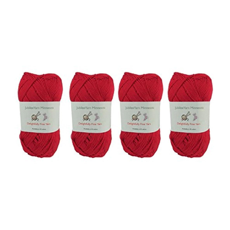 Lace Weight Tencel Yarn - Delightfully Fine - 60% Bamboo 40% Tencel Yarn - 4 Skeins - Col 13 Red Wine