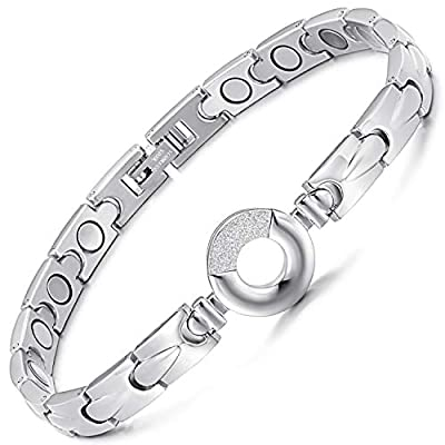 Rainso Womens Elegant Titanium Steel Health Magnetic Therapy Bracelets Pain Relief for Arthritis Adjustable