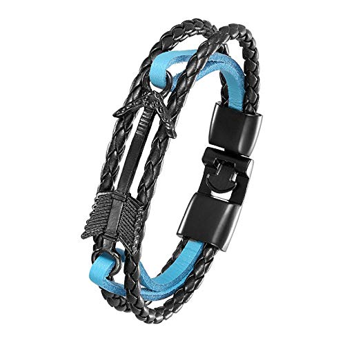 DDSCB Pulsera Hombre Cuero,Mens Leather Bracelet,Vintage Viking Arrow Blue Leather Bracelets with Black Nautical Anchor Hasp Punk Multilayer Bangle Cuff Wristband For Women Husband Teens