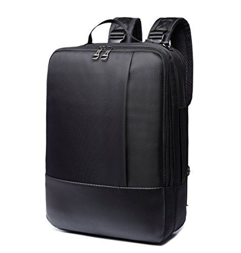 ZIXER Slim 3 in 1 Water Resistant Multifunctional Business Professional and College School Student Backpack Daypack Fits 15.6'' Laptop. Convertible Backpack to Briefcase and Shoulder Bag (Black)