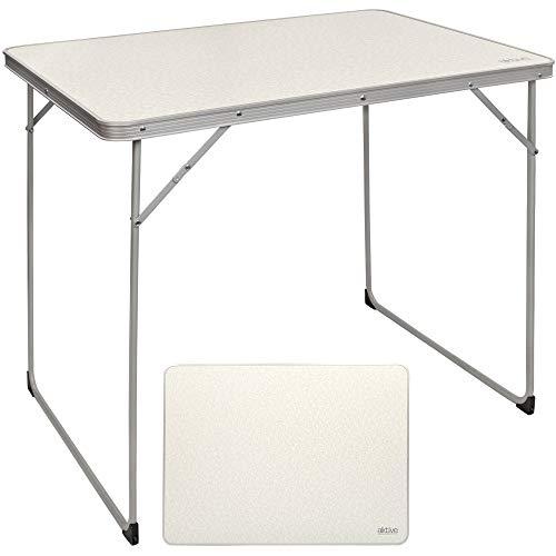 Aktive 52867- Mesa plegable camping, playa, mesa portátil color blanco, aluminio, resistente, 80x60x70 cm
