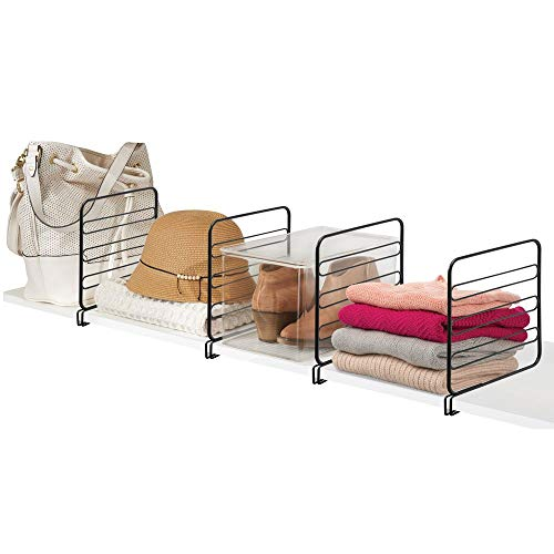mDesign 4er-Set Regaltrenner für den Kleiderschrank – praktisches Kleiderschranksystem aus Metalldraht – nützliches Regalsystem ohne Bohren – schwarz