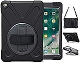 Herize Funda iPad Air 2 con Función de Soporte | Funda para iPad Air2. Generación | Cubierta Protectora de Diseño de Tres Capas con Mano Correa de Hombro para el Modelo A1566 A1567 | Negro