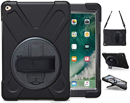 iPad Air 2 Case with Stand   Herize iPad Air 2nd Generation Case for Kids   Three Layer Drop Protection Rugged Protective Heavy Duty Case with Hand Strap Shoulder Strap for Model A1566 A1567   Black