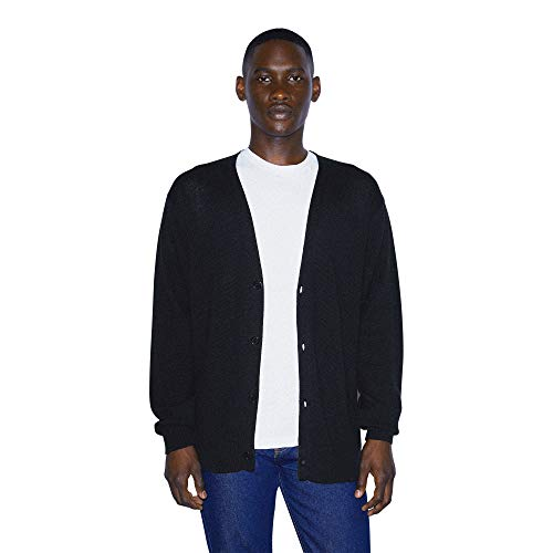 American Apparel Men's Basic Knit Long Sleeve Cardigan, Black, Large