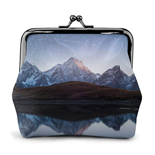 Night Sky with Stars and Mountain Lake Coin Purse Wallet Buckle Kiss-Lock Small Leather Change Pouch Gift for Women