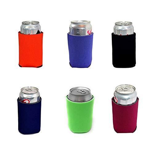 TXVSO Home 6pcs Multicolor Neopreno Cerveza En Blanco Refrigeradores para latas Mangas 330ml, Refresco, A Granel económico, Aislante Plegable, barbacoas Bodas Fiestas