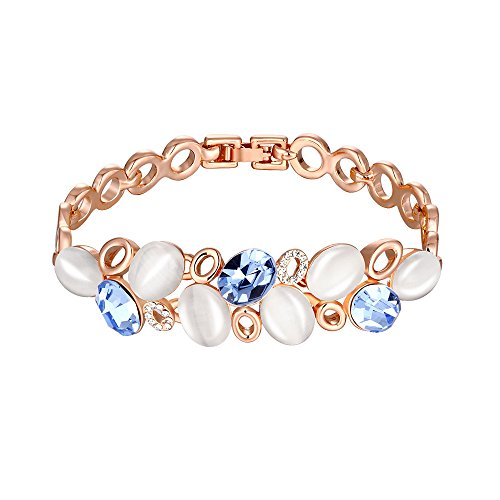 fashionbeautybuy Donna cerchi blu diamanti strass bracciale placcato oro 18K braccialetto catena corpo gioielli