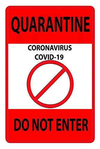 Vintage Metal Sign Quarantine Virus Do Not Enter Retro Poster Plaque Tin Sign Wall Decor for Kitchen Bar Pub Farm House 12x8inch