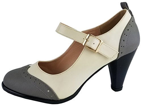 Chase & Chloe Womens Round Toe Two Tone Mary Jane Pumps Pumps-Shoes, Greywhite, 8.5