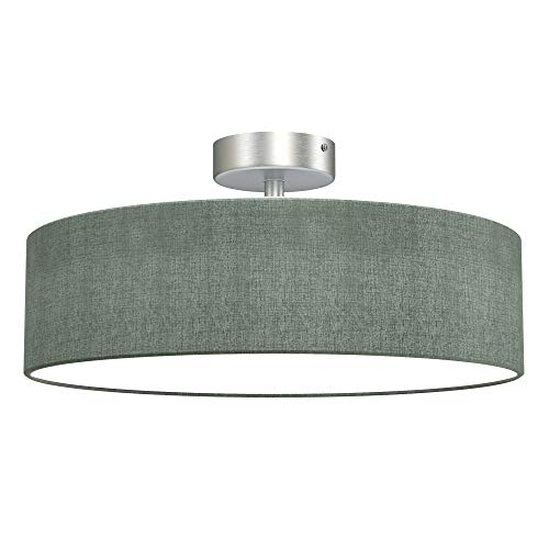 Briloner Leuchten - lámpara de techo, luz de techo 2 x E27 máx. 40 vatios, pantalla de tela, color: gris satinado, diámetro de 38 cm