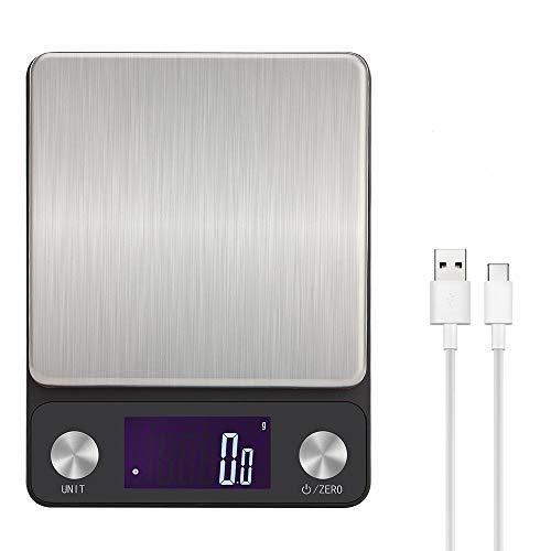 Toprime Balance De Cuisine, Balance Électronique Numérique, Rechargeable Par USB, Haute précision, Avec Écran LCD Rétro-éclairé 5 kg/0.1g(0.01lb)