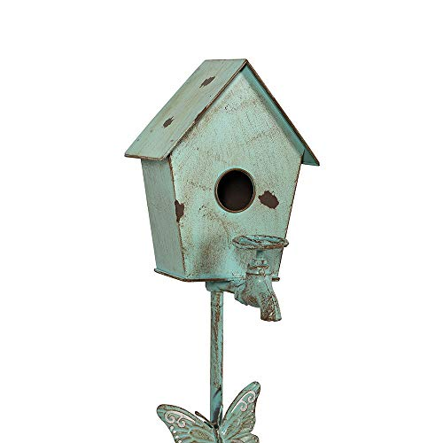 MOCOME Outdoor Bird House Stake, Reclaimed Cast Iron Faucet with Butterfly Distressed Garden Stake Decor, Eco-Friendly Metal Birdhouse with Stand for Outside(Teal)