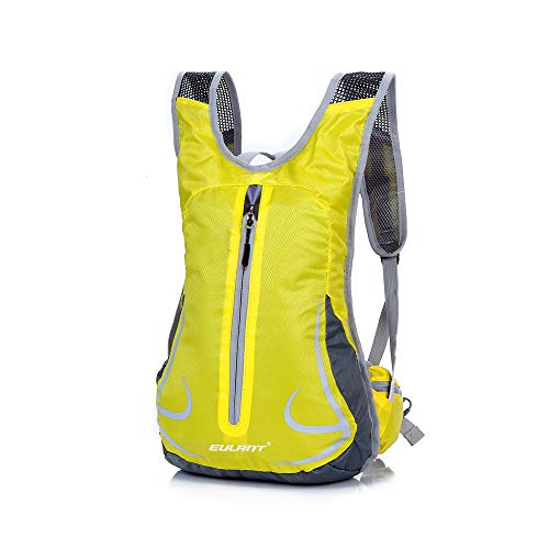 EULANT Lightweight Running Backpack,Cycling Rucksack Waterproof Women & Men, Small Travel Knapsack for Biking Hiking Camping Walking Travelling Fishing School Trekking Mountaineering, Yellow