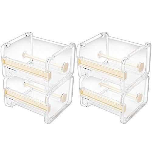 Molshine 4 Pack Transparent Visible Desktop Multi Washi Masking Tape Dispenser,Tape Cutter,Roll Tape Holder (Not Include Masking Tape) (Beige)