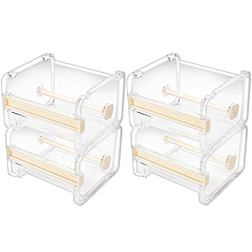 Molshine-Dispensador de cinta adhesiva multi Washi transparente visible para escritorio,cortador de cinta,soporte para rollo de cinta (no incluye cinta adhesiva) (Beige)