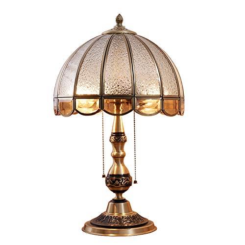 MIAO. NAF,Dormitorio de la lámpara de Mesa-Europeo de Cobre Dormitorio mesita de Noche Asiento Mesa Varias mesas de Lujo neoclásico Retro Puro Cobre lámpara de Mesa, Interruptor de botón