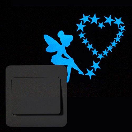 Topgrowth Adhesivo removible luz azul interruptor de dibujos animados adhesivo luminoso adhesivo de pared fluorescente motivo adhesivo