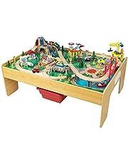 KidKraft- Set de tren y mesa de actividades de juguete, de madera, para niños, juego clásico de actividades ferroviarias con accesorios incluidos (120 piezas) Adventure , Color Multicolor (18025)