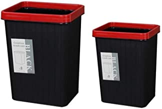 MGEM Trash Bin,Trash Can Bathroom Trolley, Two Color Square Pressure Rings Home Pressure Ring Plastic Bedroom Living Room Office Trash Can Office (Color : Red)