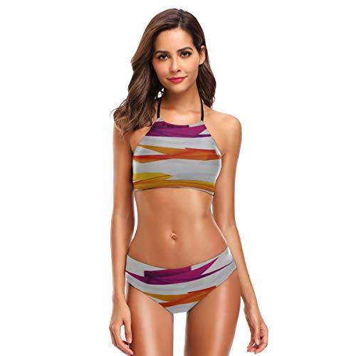 LINPM Damen Block Party High Neck Neckholder Bikini Set, Origami Birds Vector Pack Zweiteiliger rückenfreier Badeanzug, Badeanzüge