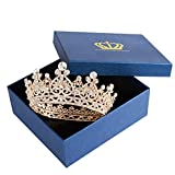 Gold Queen Crown for Women - Wedding Crown, Birthday Crown Crowns and Tiaras Hair Accessories for Costume Party Halloween (Gold queen crown)
