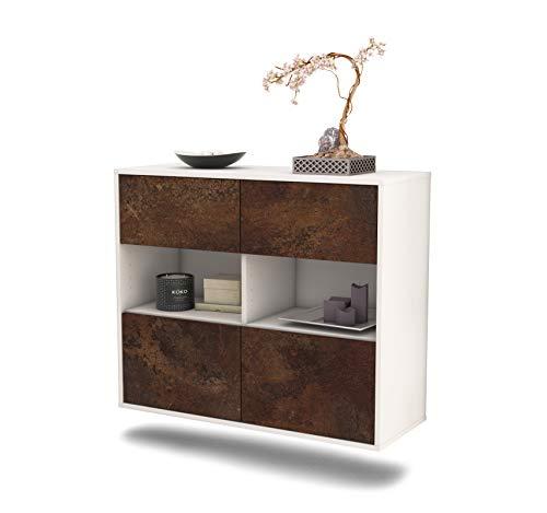 Dekati dressoir Richmond hangend (92x77x35cm) romp wit mat | front roestig industrieel ontwerp | Push-to-Open