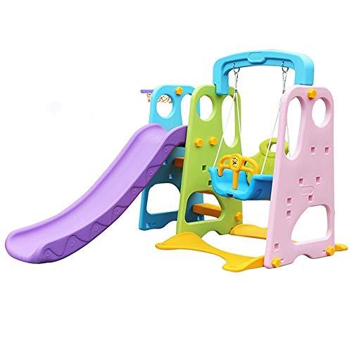 LZC Columpio Infantil De Interior para Niños, Combinación 3 En 1 con Estante De Baloncesto, Juguete De Escalada Multifuncional No Tóxico E Insípido 1-6 Años De Edad (Color : B)