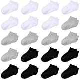 Cooraby 20 Pairs Toddler Kids Half Cushion Low Cut Soft Ankle Socks Breathable Athletic Socks (Black, White, Gray, 2-4 Years)