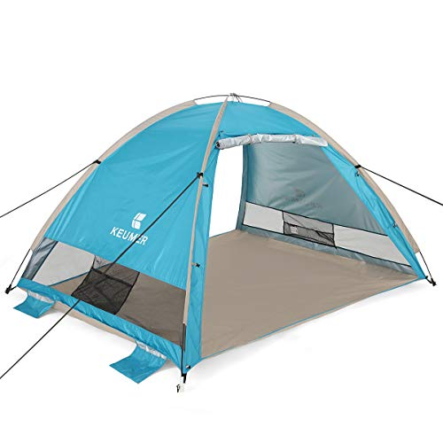 G4Free Large Beach Tent Camping Sun Shelter Portable Automatic Cabana Anti UV Shade (Lake Blue)