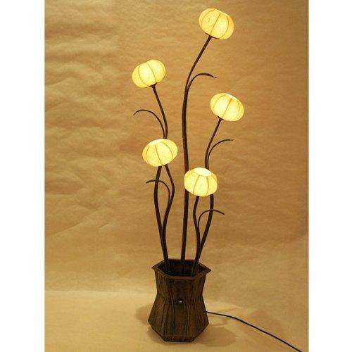 Lampe à boule en papier de riz ou de mûrier avec abat-jour jaune rond travaillé à la main avec motif vase de fleurs ou lanterne marron lampe de table lampe de sol lumière vers le haut style oriental pour chambre à coucher