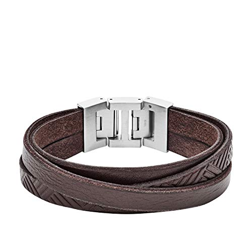 Fossil Herren Armband Textured Brown Leather Wrist Wrap JF02999040