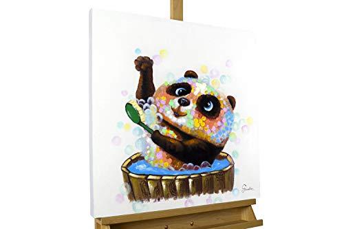 KunstLoft® Peinture Acrylique sur Toile 'Toilette d'ours' 60x60cm Peinte à la Main