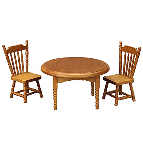 WFZ17 Mini mesa redonda de muebles, adorno en miniatura coleccionable para juegos educativos tempranos, juguetes para casa de muñecas vivas, mini silla de cocina para niños, castaño