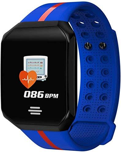 JSL Fitness Smart Watch Hombres Mujeres Pantalla Grande Monitor de Ritmo Cardíaco Presión Arterial Podómetro Correr Touch Sport Reloj Inteligente-Azul-Azul