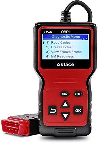 Akface Escáner OBD2, Sistemas de Diagnóstico del Motor OBDII, Lector de Códigos OBD2 Herramienta de Vehículos de Fallas con Lectura y Borrado de Códigos de Error Soporte Multilingüe …