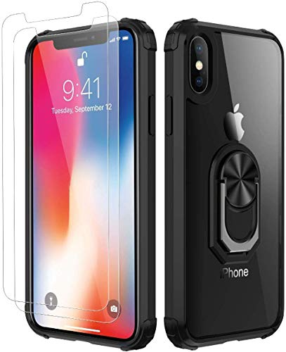 Amuoc Compatible with iPhone X Case, iPhone Xs Case,[ Military Grade ] with [ Glass Screen Protector] 15ft. Drop Tested Protective Case [Kickstand]-Black