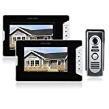 OWSOO 7 Pulgadas Videoportero, Intercomunicador Timbre, 2 Monitor Interior + 1 Cámara Exterior Impermeable, Soporte...