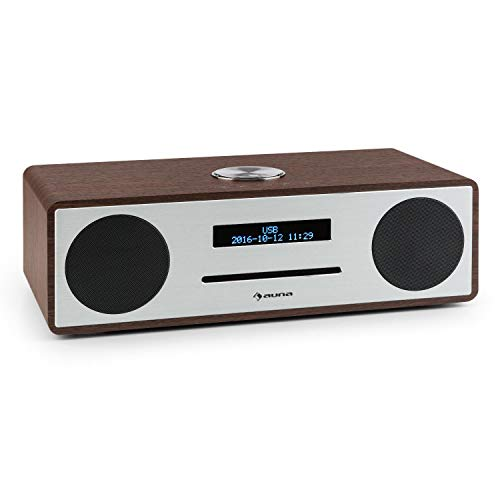 auna Stanford - Digitalradio, DAB+, UKW-Tuner, LED-Display, RDS-Funktion, Radiowecker, USB-Port, Slot-In CD-Player, Bluetooth 3.0, Wecker, Bassreflexgehäuse, Fernbedienung, braun