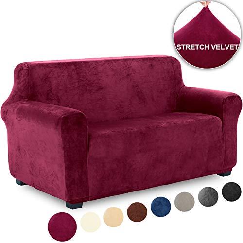 TIANSHU Funda de Sofá 2 Plazas Terciopelo,Cubierta Suave del sofá de la Felpa del Terciopelo para,Cubiertas Elegantes de los Muebles (2 Plazas,Burdeos)