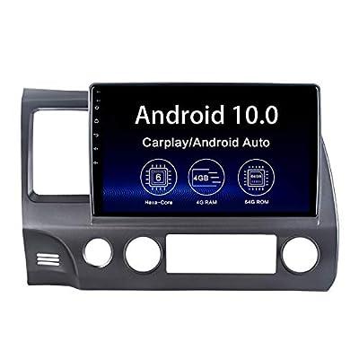 "Dasaita 10.2"" Android 10.0 Car Stereo Radio for Honda Civic 2006 2007 2008 2009 2010 2011 Bluetooth 5.0 GPS Navigation Video Player 4G 64G PX6 DSP WiFi Android Auto Wireless Carplay 1280X720 HD"